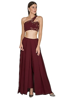 Marsala Wine Embroidered Crop Top With Culotte Skirt by Seep Mahajan