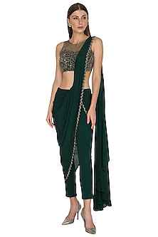 Bottle Green Embroidered Pant Saree Set by Seep Mahajan