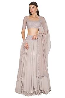 Lilac Embroidered Layered Lehenga Set by Seep Mahajan