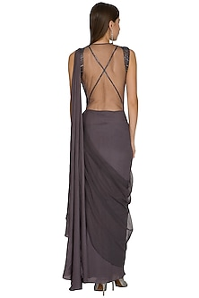 Charcoal Grey Embroidered Saree Gown With Attached Drape by Seep Mahajan