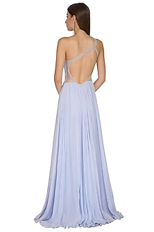 Ice Blue Embroidered One-Sided Gown by Seep Mahajan