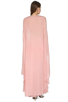 Blush Pink Embroidered Crop Top With Drape Skirt & Cape by Seep Mahajan