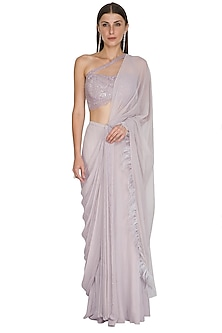 Lilac Embroidered Draped Saree Set by Seep Mahajan