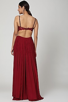 Marsala Red Draped Skirt Set by Seep Mahajan
