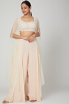 Champagne Embroidered Skirt Set by Seep Mahajan