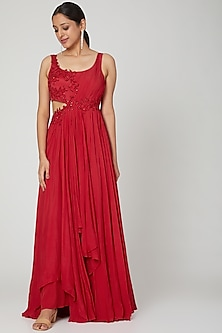 Red Embroidered Gown by Seep Mahajan