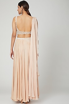 Champagne Drape Skirt Set by Seep Mahajan
