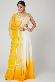 Ivory & Yellow Ombre Lehenga Set by Seep Mahajan