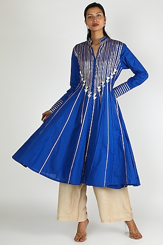 Cobalt Blue Embroidered Kurta by Gulabo By Abu Sandeep