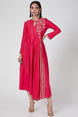 Pink Asymmetrical Kurta by Gulabo By Abu Sandeep