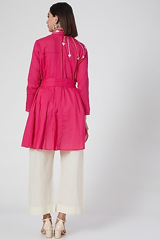 Pink Pleated Shirt With Belt by Gulabo By Abu Sandeep