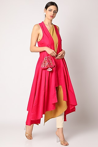 Pink Sleeveless Coat With Potli by Gulabo By Abu Sandeep