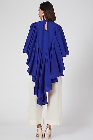 Blue Draped & Ruffled Top by Gulabo By Abu Sandeep