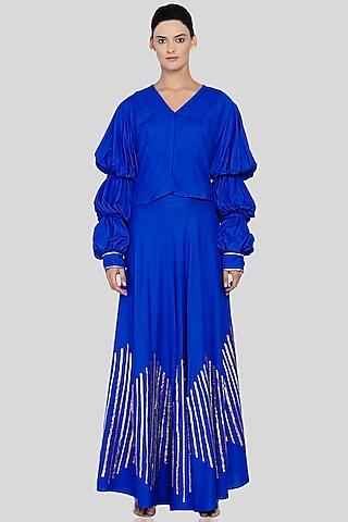 Royal Blue Embroidered Circular Skirt by Gulabo By Abu Sandeep