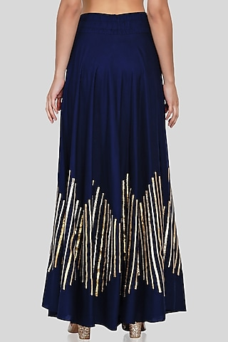 Navy Blue Embroidered Circular Skirt by Gulabo By Abu Sandeep