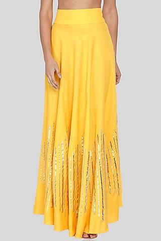 Yellow Embroidered Circular Skirt by Gulabo By Abu Sandeep