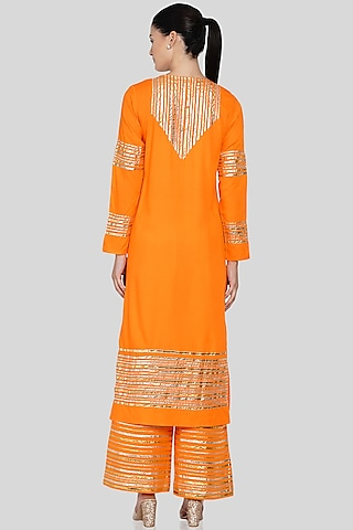 Orange Embroidered A-Line Kurta by Gulabo By Abu Sandeep