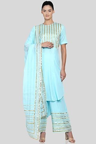 Sky Blue Embroidered Dupatta by Gulabo By Abu Sandeep