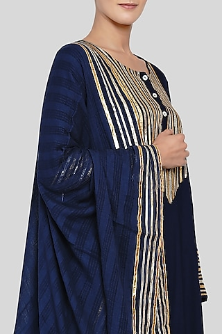 Midnight Blue Embroidered Dupatta by Gulabo By Abu Sandeep