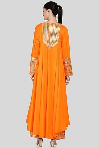 Orange Embroidered Asymmetrical  Kalidar Kurta by Gulabo By Abu Sandeep