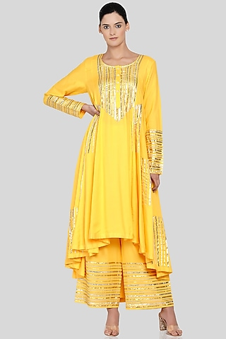 Yellow Embroidered Asymmetrical Kalidar Kurta by Gulabo By Abu Sandeep