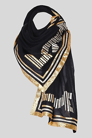 Black Embroidered Stole by Gulabo By Abu Sandeep