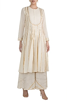 Off White Embroidered Pleated Kurta by Gulabo by Abu Sandeep