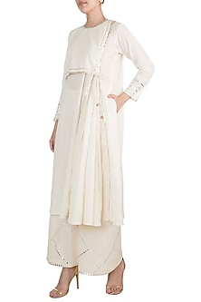 Off White Embroidered Flap Tunic by Gulabo by Abu Sandeep