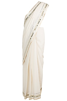 Off White Embroidered Saree Set by Gulabo by Abu Sandeep