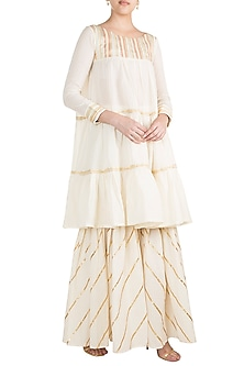 Off White Embroidered Tiered Dress by Gulabo by Abu Sandeep