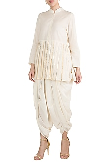 Off White Embroidered Pleated Shirt by Gulabo by Abu Sandeep
