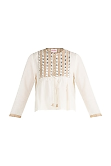 Off White Embroidered Gilet Top by Gulabo by Abu Sandeep
