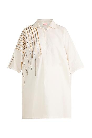 Off White Embroidered Kimono With Shirt Collar by Gulabo by Abu Sandeep