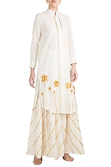 Off White Embroidered Front Open Tunic by Gulabo by Abu Sandeep
