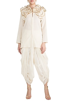 Off White Embroidered Ruffled Shirt by Gulabo by Abu Sandeep