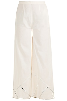 Off White Embroidered Palazzo Pants by Gulabo by Abu Sandeep