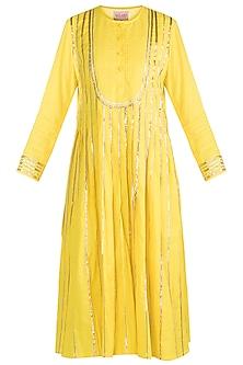 Yellow Embroidered Pleated Kurta by Gulabo by Abu Sandeep