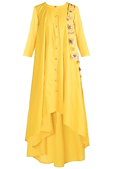 Yellow Embroidered Asymmetrical Tunic by Gulabo by Abu Sandeep
