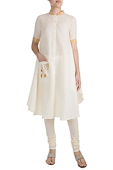 Off White Floral Gota Embroidered D-Shaped Tunic by Gulabo by Abu Sandeep