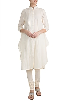 Off White Embroidered Front Open Long D-Shaped Tunic by Gulabo by Abu Sandeep