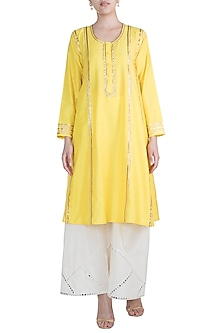 Yellow Gota Embroidered Kali Kurta by Gulabo by Abu Sandeep