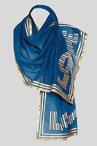 Cobalt Blue Embroidered Stole by Gulabo By Abu Sandeep