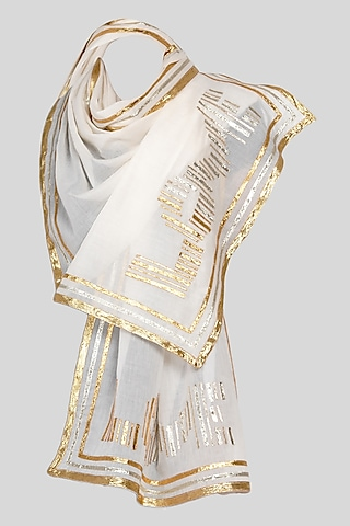 White Embroidered Stole by Gulabo By Abu Sandeep