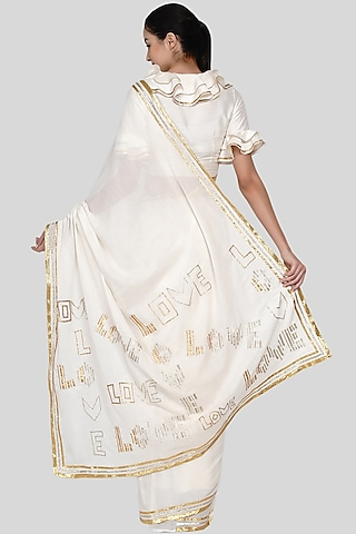 White Embroidered Saree Set by Gulabo By Abu Sandeep