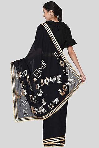 Black Embroidered Saree Set by Gulabo By Abu Sandeep