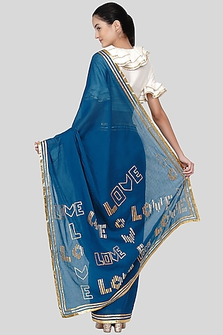 Cobalt Blue Embroidered Saree Set by Gulabo By Abu Sandeep