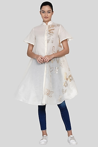White Embroidered Tunic by Gulabo By Abu Sandeep
