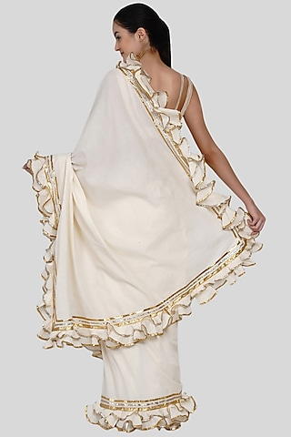 Off White Embroidered Ruffled Sarees Set by Gulabo By Abu Sandeep