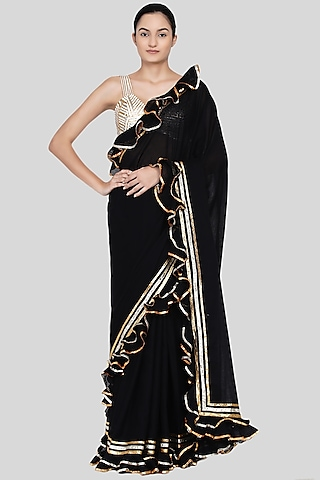 Black Embroidered Ruffled Saree Set by Gulabo By Abu Sandeep
