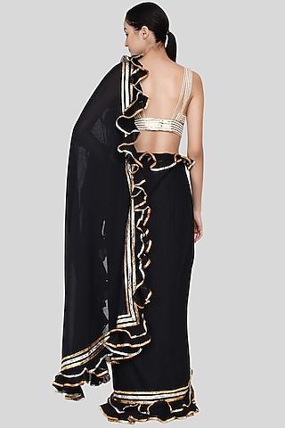 Black Embroidered Ruffled Saree Set by Gulabo By Abu Sandeep